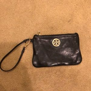 Tory Burch leather wristlet.